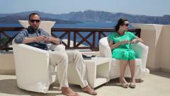 Relationship difficulties, couple sitting on terrace HD Stock Footage
