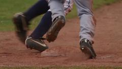 First base action close-up slowmo Stock Footage