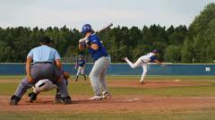 Baseball hit run 60 fps Stock Footage