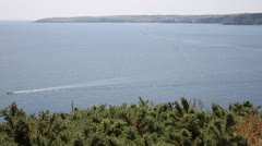 View from Black Head headland between Porthpean and Pentewan Cornwall Stock Footage