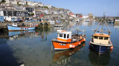 Mevagissey fishing village and harbour Cornwall Stock Footage