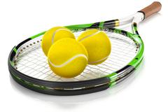 Tennis Racket with Tennis Balls Stock Illustration