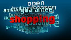 Shopping related words in cloud - stock footage
