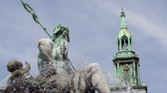 Neptun fountain in front of church Berlin Stock Footage