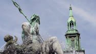 Stock Video Footage of Neptun fountain in front of church Berlin