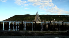 Old St. John's Dock With Sailboat Stock Footage