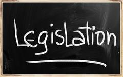 """legislation"" handwritten with white chalk on a blackboard - stock illustration"