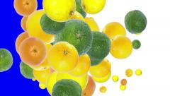 Falling Fruits (with alpha channel) Stock Footage