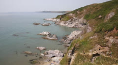 Whitsand Bay beach Cornwall coast England UK near to Plymouth Stock Footage