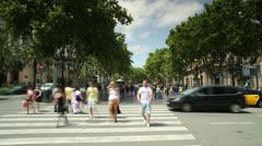 Las ramblas barcelona urban street crossing Stock Footage