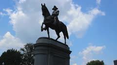Boston Common Washington Statue 3 Stock Footage