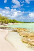 virgin tropical beach at coco key in cuba - stock photo