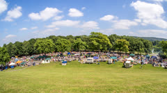 Time Lapse of busy flea market at Rhine river park in Bonn, Germany - stock footage