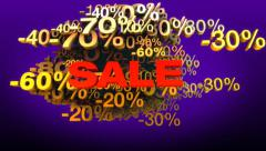 Discount percentage signs in cloud with word sale Stock Footage