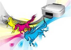 colors of printer - stock illustration