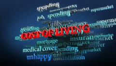 Cost of living related words in cloud. Stock Footage