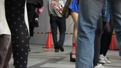 Anonymous people walking in Shinsaibashi Suji Street in Osaka Stock Footage