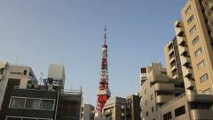 Tokyo Tower driveby Stock Footage