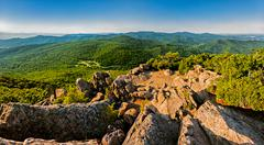 Evening view of the blue ridge mountains from mary's rock, along the appalach Stock Photos