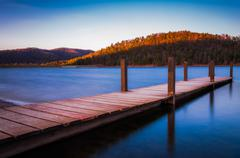Long exposure of a small dock on lake arrowhead near shenandoah national park Stock Photos