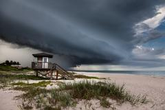 Florida Beach Severe Storm Shelf Cloud - stock photo