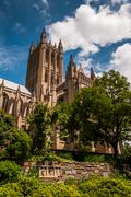 the washington national cathedral, seen from the bishop's garden. - stock photo
