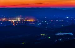 View of lake arrowhead and luray after sunset from skyline drive Stock Photos