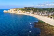 Stock Photo of etretat, aerial view of village on normandy coast, france