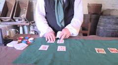 Card shark dealer, old west Stock Footage