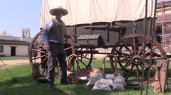 Covered Wagon Pioneer - stock footage