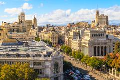 Madrid cityscape and aerial view of of gran via shopping street, spain Stock Photos
