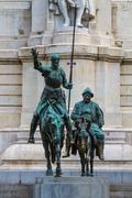 Madrid, don quijote and sancho panza statue, spain Stock Photos