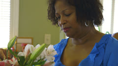 Adjusting the flower arrangement Stock Footage