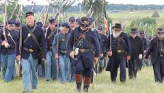 Union Soldiers Marching in Gettysburg Stock Footage