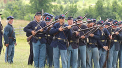American Civil War Union Soldiers Firing on enemy at Gettysburg Stock Footage