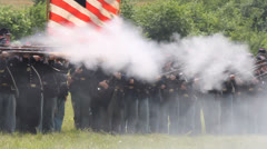 American Civil War Union Soldiers firing in different orders at Gettysburg Stock Footage
