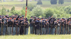 American Civil War Union Soldiers Firing by Battalion at Gettysburg Stock Footage