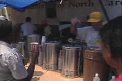 Disaster, Food truck volunteers pass out food and drink, Hurricane Andrew 1992 - stock footage