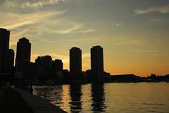 Boston Skyline Sunset Silhouette Kuvituskuvat