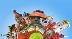 Collage of sights of moscow Stock Photos