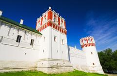 wall and towers of novodevichy convent - stock photo
