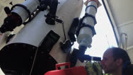 Stock Video Footage of Observing the sky with telescope