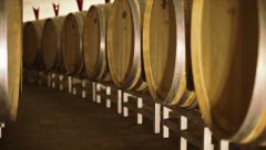 Barrels in a wine cellar Stock Footage