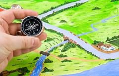 Orientation of the map in the journey Stock Photos