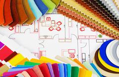 Variants of textiles and materials Stock Photos