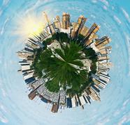 spherical panorama view on moscow - stock illustration