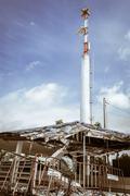 a pavilion is destroy by rain storm - stock photo