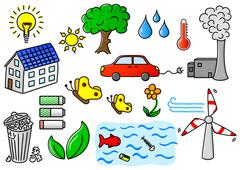 Environmental pollution and green energy icon set Stock Illustration