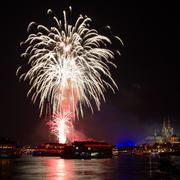 Firework over the rhine river Stock Photos
