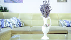 Wide Shot of Lavender Decoration in Vase At Home Stock Footage